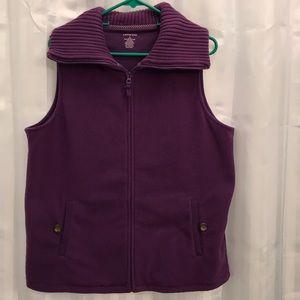 Lands End Woman's purple zip up vest, with 2 front